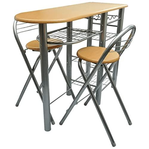 vidaXL Küchenbar mit 2 Stühlen Küchentisch...