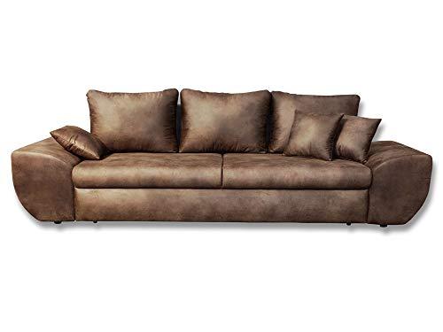 lifestyle4living Big Sofa in braun mit Schlaf...