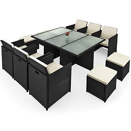 Deuba Poly Rattan Sitzgarnitur Cube 6 Stühle...