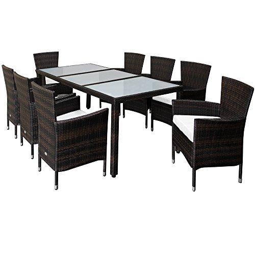 Deuba Poly Rattan Sitzgruppe 8 Stühle Stapel...