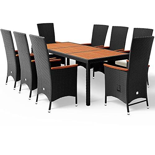 Casaria Poly Rattan Sitzgruppe 8+1 Schwarz 7c...