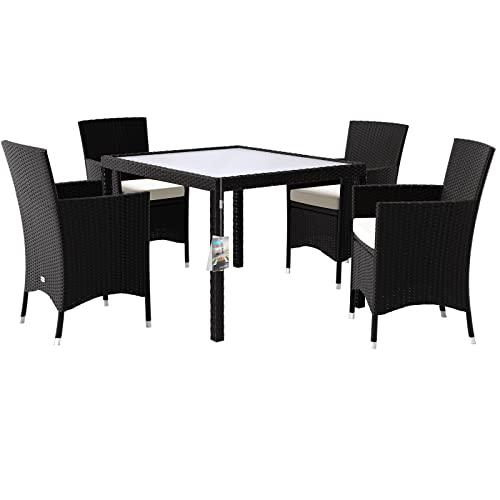 Deuba Poly Rattan Sitzgruppe 4+1 Stapelbare S...