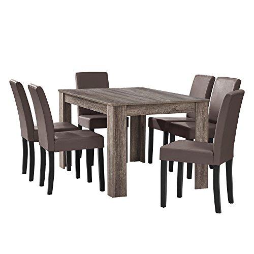 [en.casa] Esstisch Eiche antik mit 6 Stühlen...