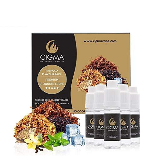 CIGMA 5 X 10ml E Liquid,0mg (Ohne Nikotin) Kl...