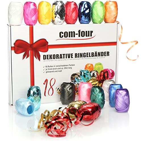com-four® 18x Ringelband in bunten Farben - ...