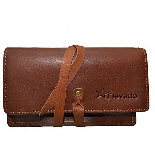 Tabaktasche braun aus echtem Leder mit Paper ...