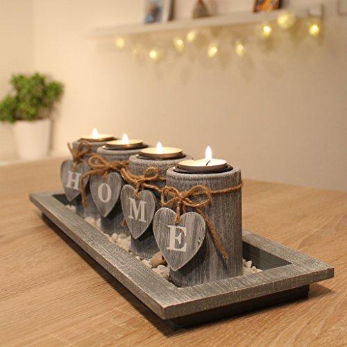 Teelichthalter-Set Holz Tablett Landhaus Tisc...