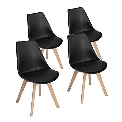 EGGREE 4er Set Esszimmerstühle mit Massivhol...
