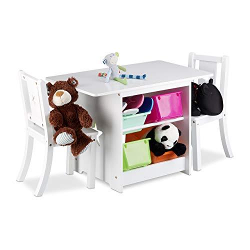 Relaxdays Kindersitzgruppe ALBUS mit Stauraum...