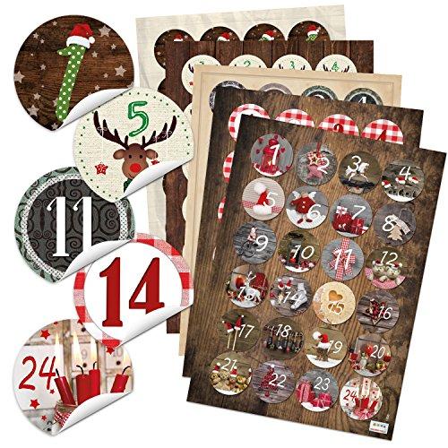 5 x 24 verschiedene Adventskalender Zahlen Au...