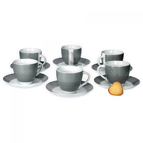 Van Well 6er Set Kaffeetasse mit Untertasse S...