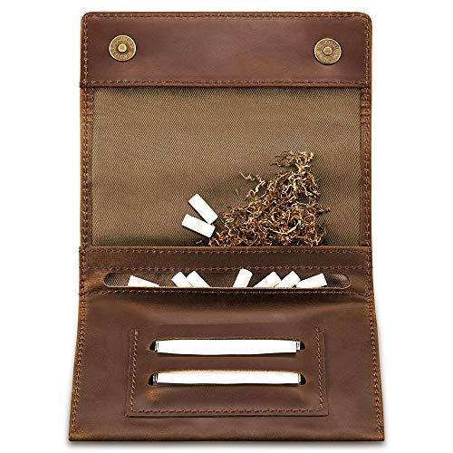 Indian Pearl Echtleder Tabaktasche mit extra ...