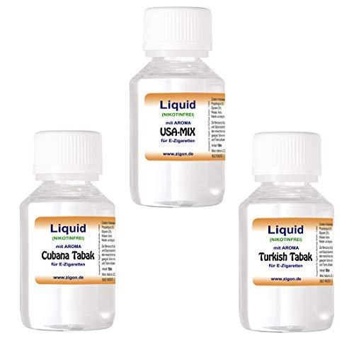 3 x 100 ml E-Liquid - ZigoN (USA-MIX/CUBANA/T...
