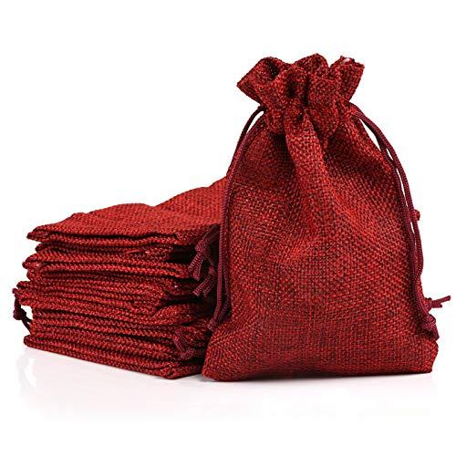 Naler 24 x Jutesäckchen Rot Jute Beutel für...