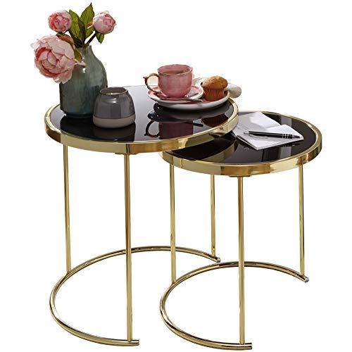 FineBuy Design Satztisch Caro schwarz/Gold Be...