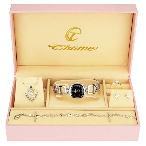 Geschenkset Damen Armbanduhr Schwarz Silber- ...