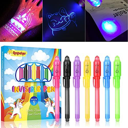 Amteker Geheimstift mit UV Licht Kinder, 7 St...