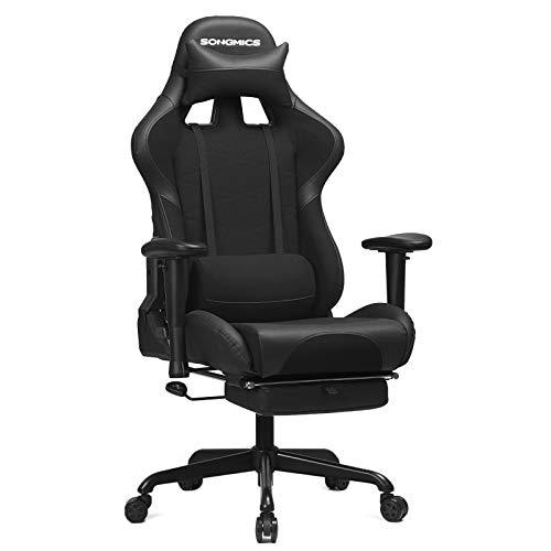 SONGMICS Gaming Stuhl mit Fußstütze, 150 kg...