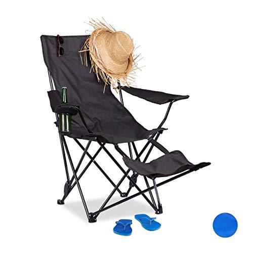 Relaxdays Campingstuhl mit Fußablage, faltba...