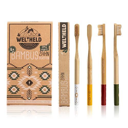 Weltheld Bambuszahnbürsten | 4er Pack | vega...