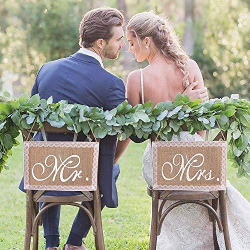 LinTimes Mr & Mrs Stuhl Banner Set Hochzeit D...