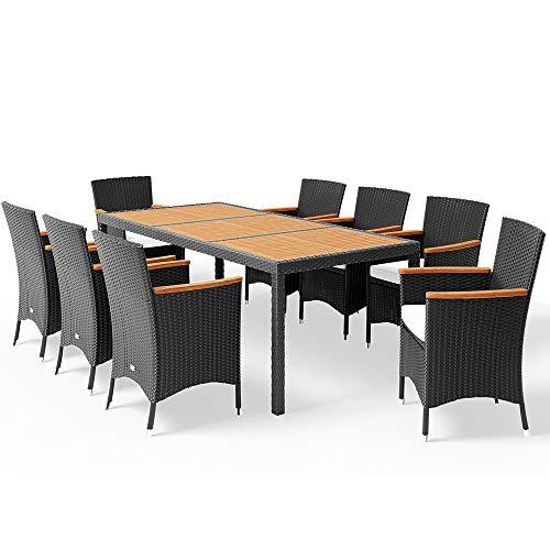 Poly Rattan 8+1 Sitzgruppe 8 Stapelbare Stüh...
