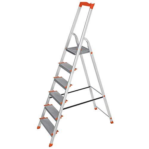 SONGMICS Leiter 6 Stufen, Aluleiter, 12 cm br...
