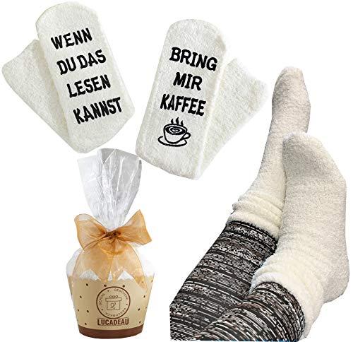 Lucadeau Socken mit Kaffee Spruch auf der Soh...