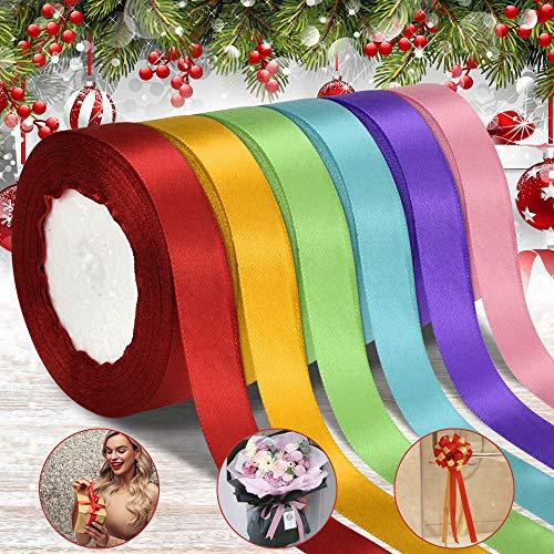 DECARETA 6 Farben Satinband Geschenkband 20mm...