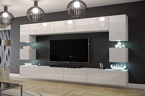 Furnitech Modernes TV Möbel mit LED Beleucht...