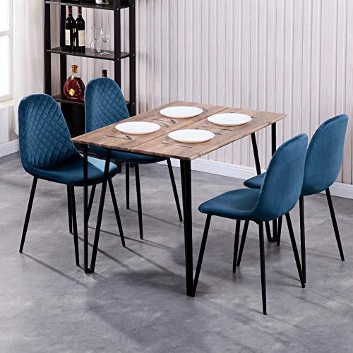 GOLDFAN Esstisch mit 4 Stühlen Rechteckiger ...